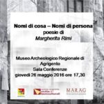 """Agrigento, al Museo la presentazione del libro di poesie di Margherita Rimi """"Nomi di cosa – Nomi di persona"""""""