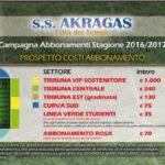 Akragas, al via la campagna abbonamenti 2016/2017