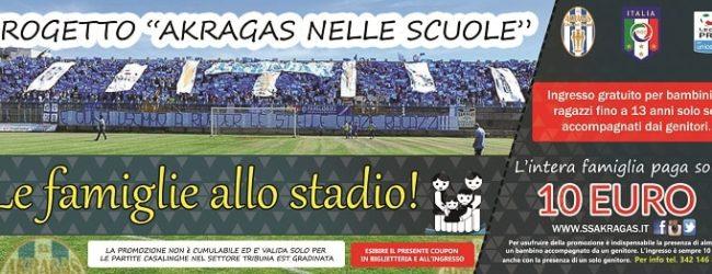 L'Akragas con le scuole: studenti e famiglie allo stadio a 10 euro
