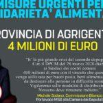 Emergenza Coronavirus: 4 milioni di euro alla provincia di Agrigento per la solidarietà alimentare