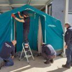 Emergenza coronavirus: tenda pre-triage montata dall'Ufficio di Protezione Civile al San Giovanni di Dio