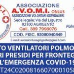 L'Associazione Volontari Ospedalieri ha avviato una raccolta di fondi per acquistate Ventilatori Polmonari e Dpi da donare all'Asp di Agrigento