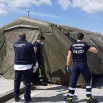 Protezione Civile del Libero Consorzio a supporto del San Giovanni di Dio con una tenda a supporto del personale sanitario