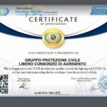 Riconoscimento della IHRC all'Ufficio di Protezione Civile del Libero Consorzio di Agrigento per le attività in emergenza Covid-19