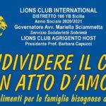 I Lions e i Leo di Agrigento per le famiglie in difficoltà