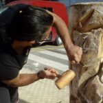 Agrigento, alberi tagliati in via Esseneto diventano opere d'arte