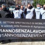 Protesta degli operatori tecnici in crisi a causa della pandemia da Covid: presenti anche gli imprenditori agrigentini